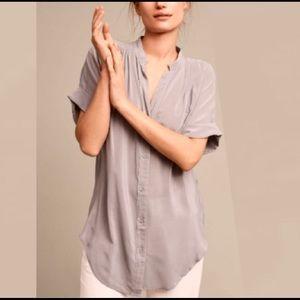 Anthropologie Rosalyn Tunic Silk  Blouse Grey XS
